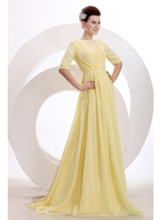 Stylish Yellow Modest Middle Sleeves Prom Dress 2014