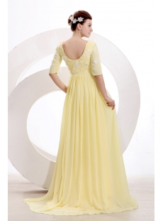Stylish Yellow Modest Middle Sleeves Prom Dress 2014:1st-dress.com