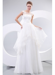 Summer Illusion Neckline Casual Wedding Dresses
