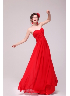 Sweet Red Chiffon Sweetheart Long Maternity Prom Party Dress