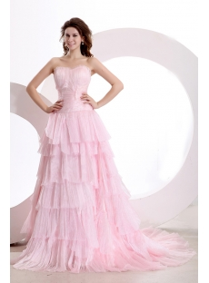 Sweetheart Pink Mature Wedding Gown with Train