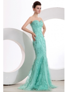 Teal Blue Sheath Evening Dresses with Sweetheart