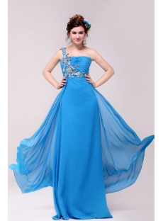 Traditional Blue One Shoulder Plus Size Prom Dresses for 2012