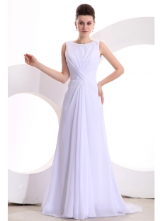 White Elegant Chiffon A-line Long Prom Dress