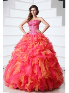 Wonderful Sweetheart Organza Beading Ruffled Ball Gown Quinceanera Gown