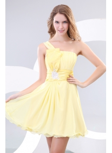 Yellow One Shoulder Short Pretty Graduation Dresses