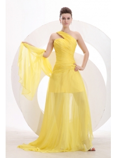 Yellow One Shoulder Spring Prom Dress 2014