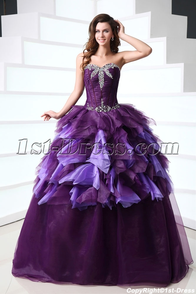 94161428a6c Attractive Purple 15 Quince Gown Dress for 2014 Spring 1st-dress.com