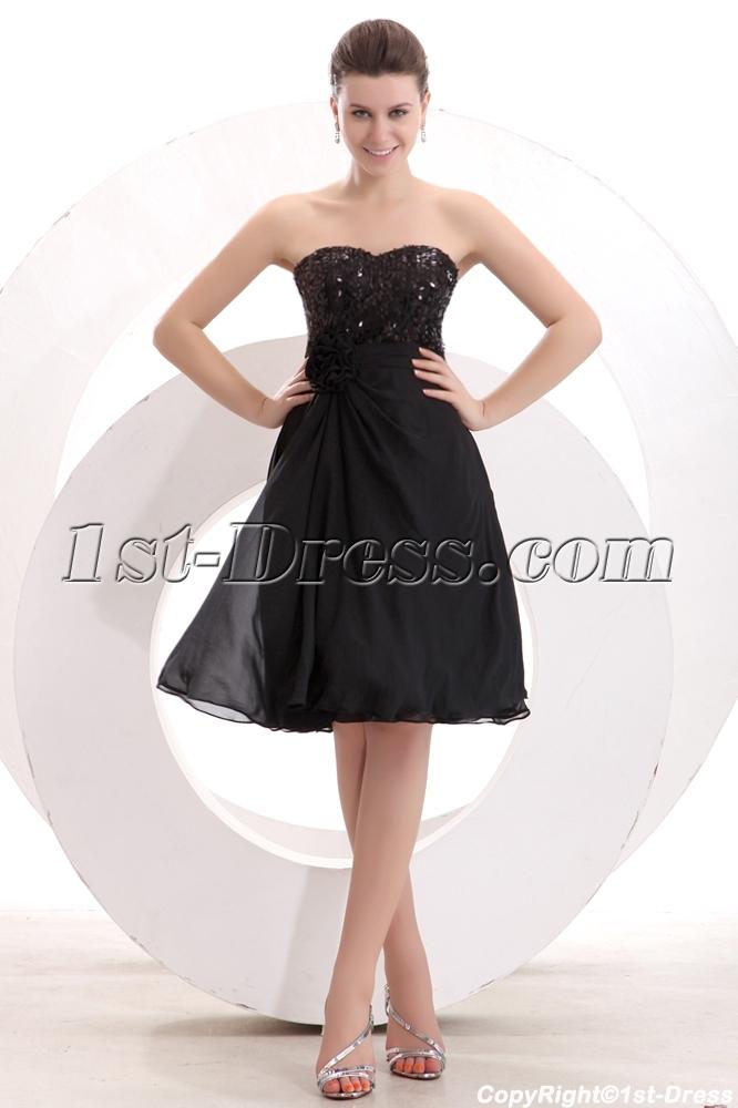 Black Sequins Knee Length Short Prom Dress1st Dress