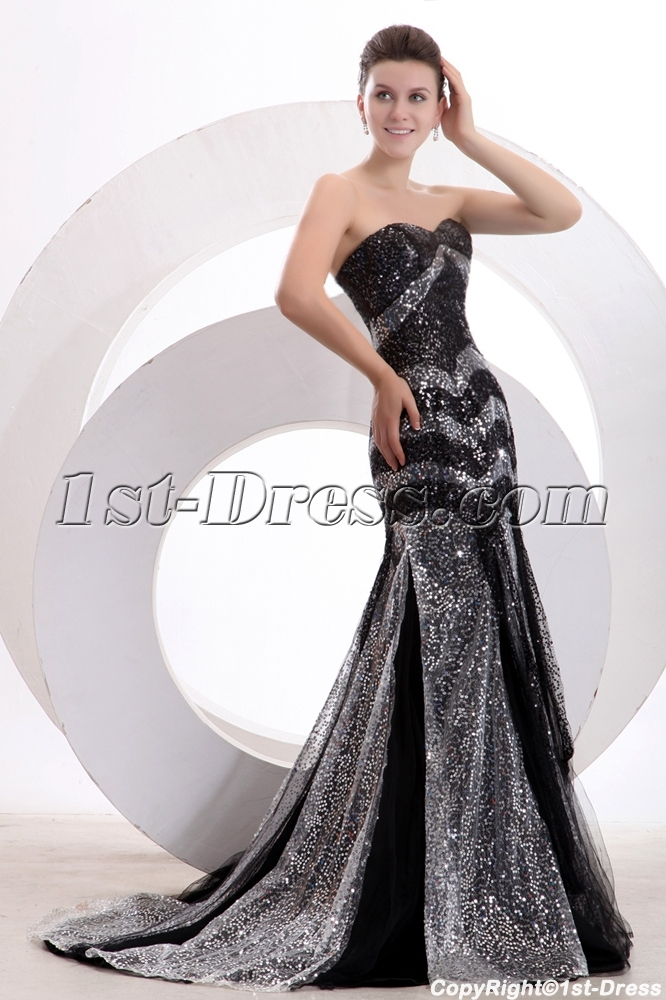 Black and Silver Sequins Sheath Long Formal Party Dress:1st-dress.com
