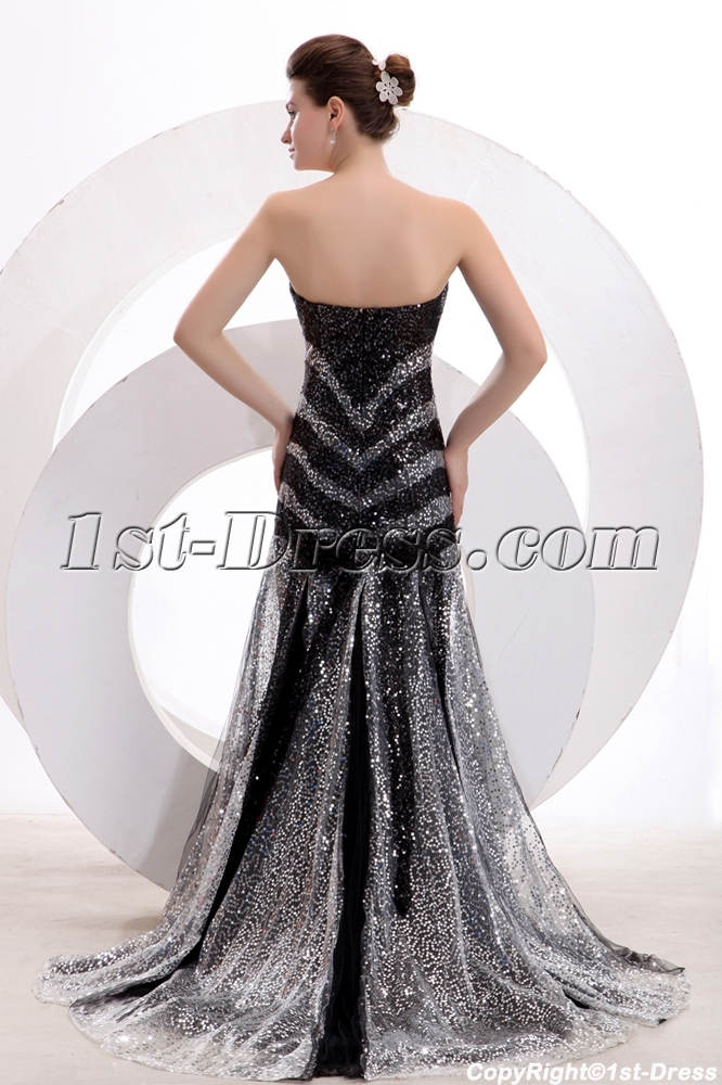 Black And Silver Sequins Sheath Long Formal Party Dress1st Dress