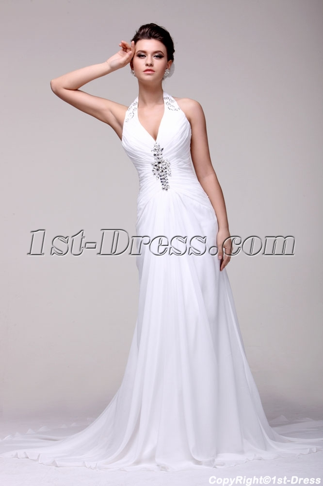 Brilliant Halter Summer Beach Wedding Dress 2014 1st
