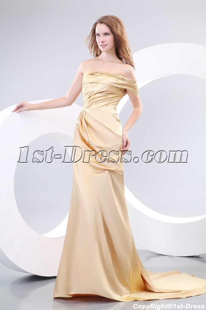 Champagne Classy Evening Dresses with One Shoulder:1st-dress.com