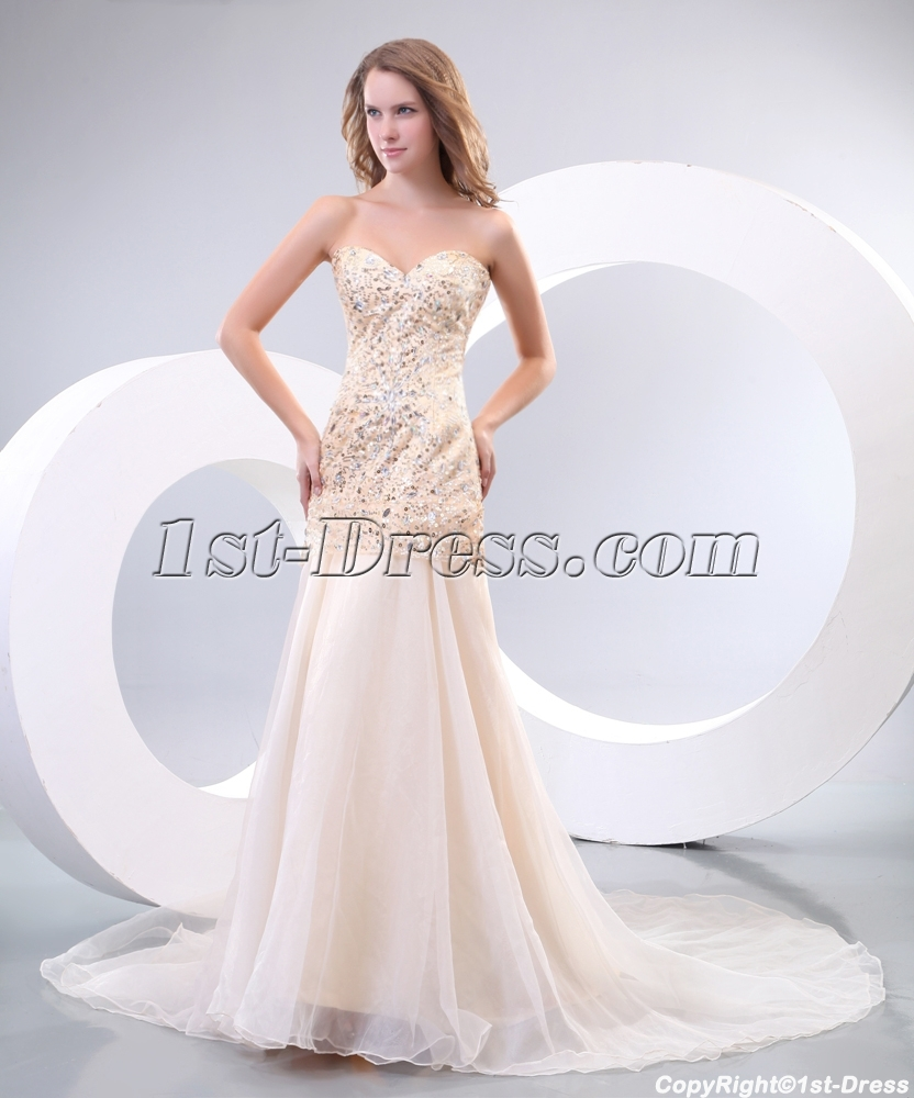 Champagne Pretty Sequins Vintage Inspired Evening Dresses with Train ...