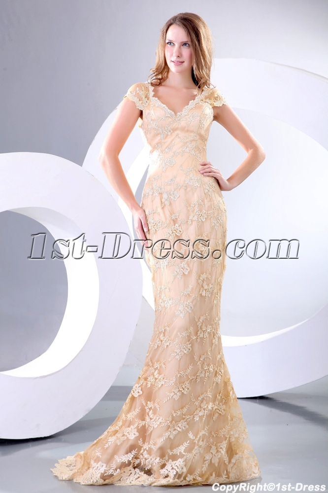 Champagne sheath lace plus size celebrity dress with cap for Plus size champagne colored wedding dresses