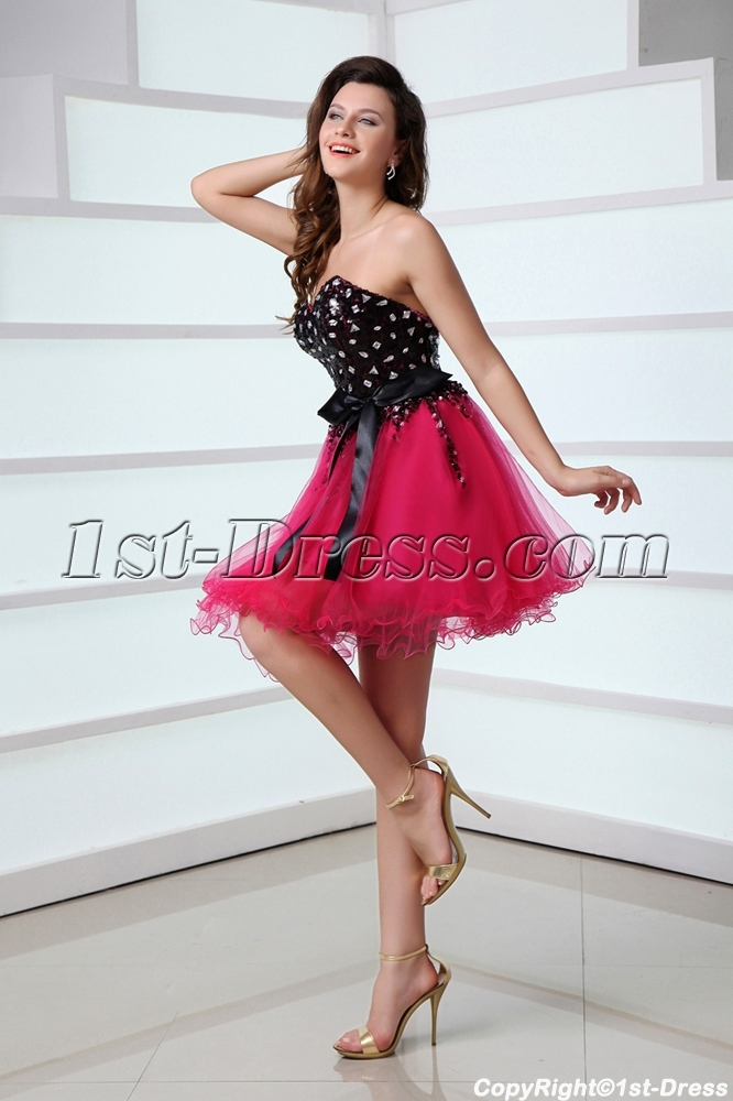 charming sequined black and hot pink sweet 16 dress for