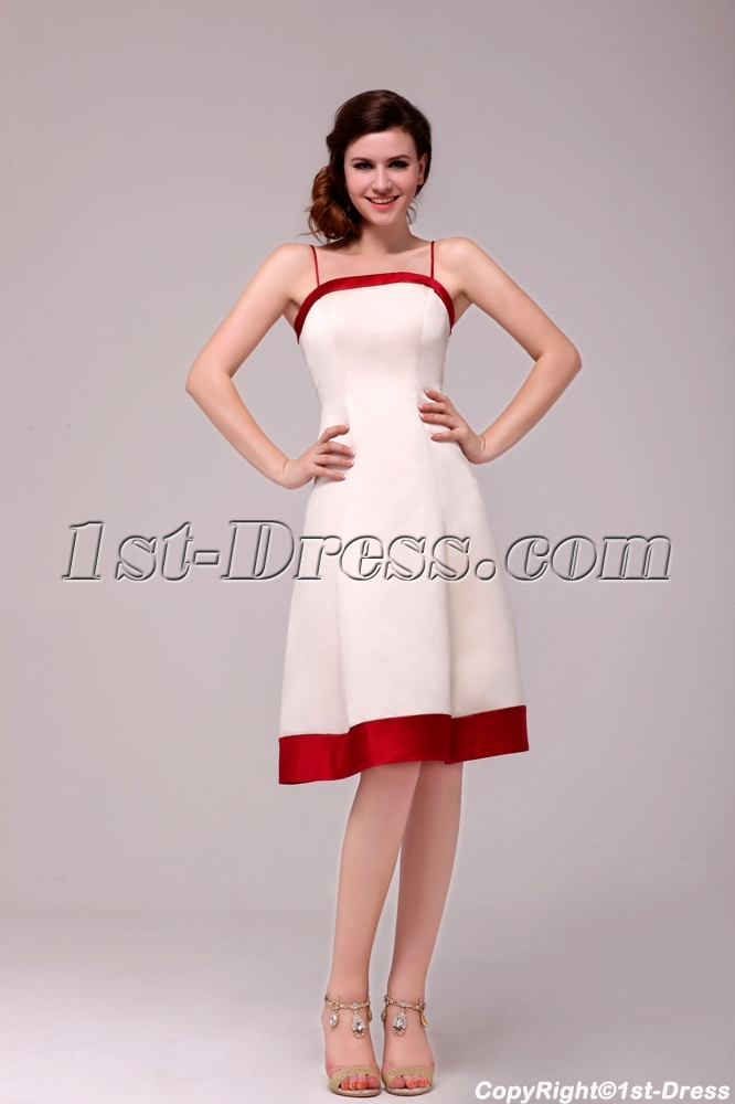 Classical Colorful Spaghetti Straps Short Bridesmaid Dress