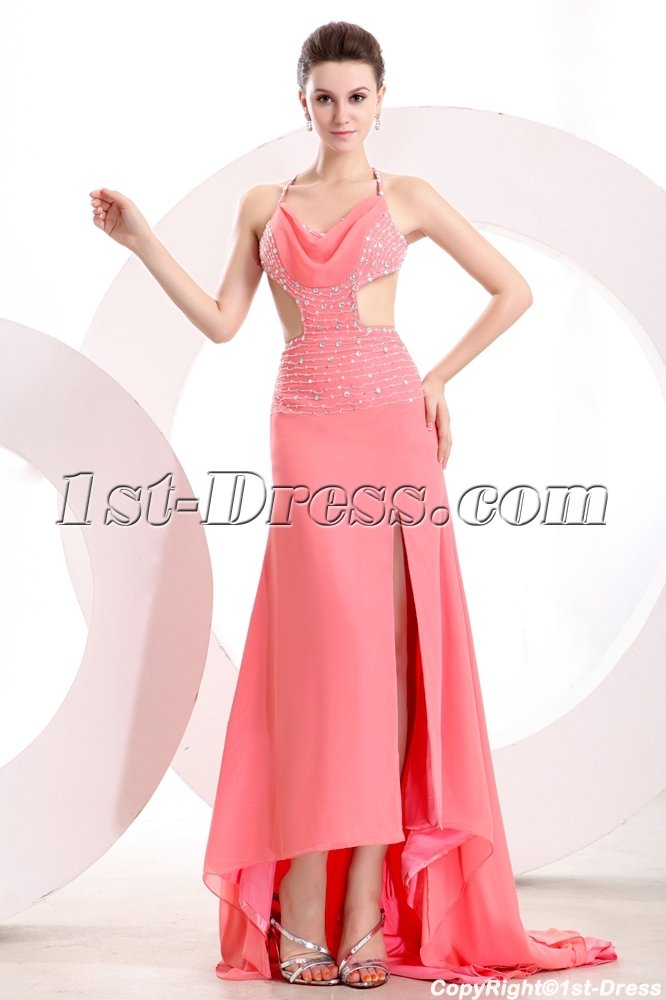 Coral 2014 Summer Sexy Cocktail Dress with Criss-cross:1st-dress.com
