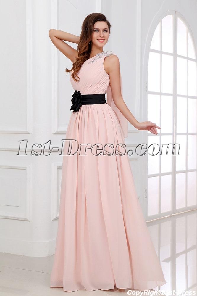 43793f6cc8 Coral One Shoulder Chiffon Long Evening Dress with Sash 1st-dress.com