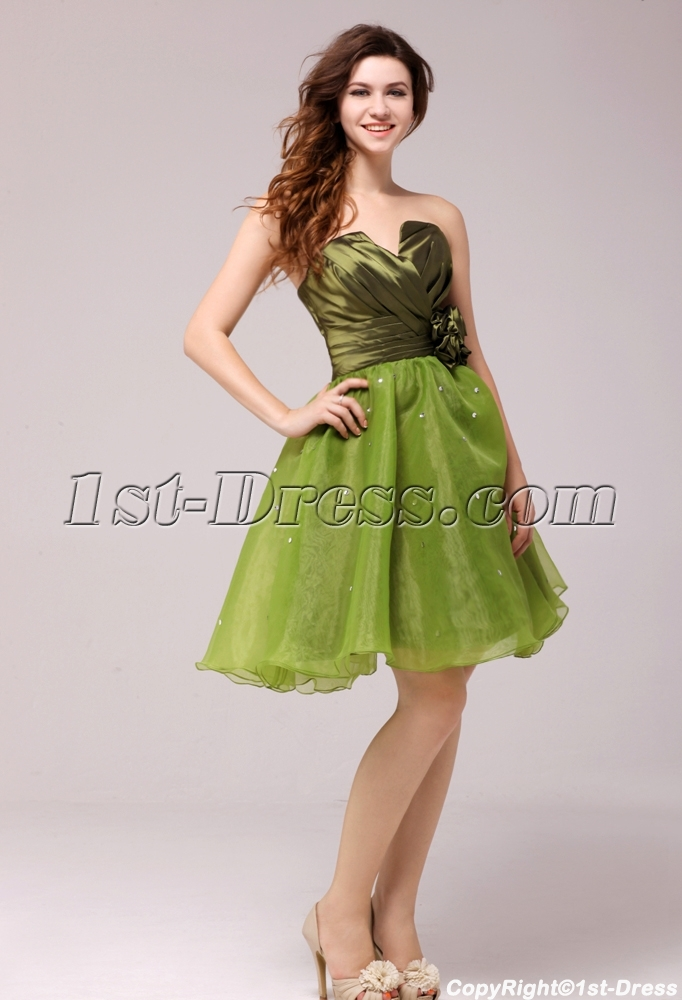 82740d30bbd Cute Flare Olive Short Cocktail Dress for Girls (Free Shipping)