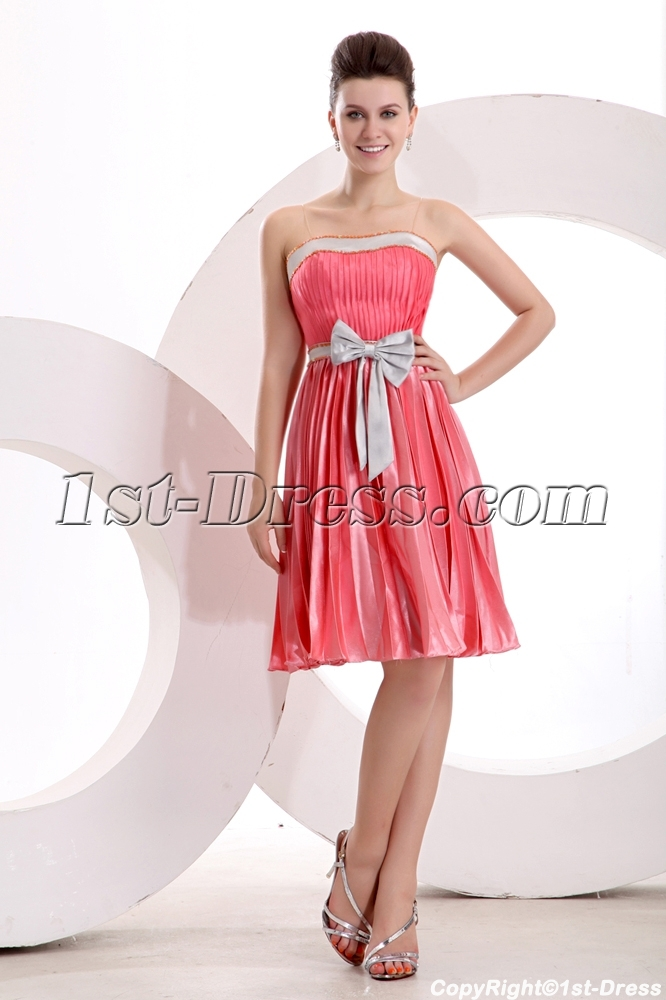 Cute Pleated Strapless Short Dress for Bridesmaid