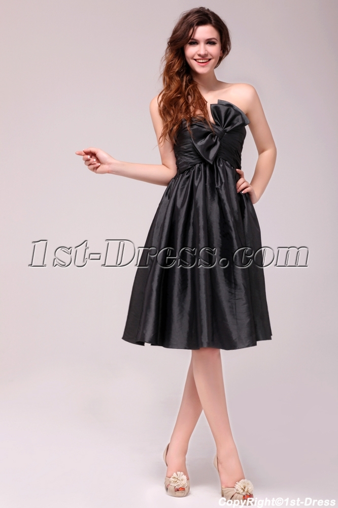Dramatic Taffeta Knee Length Black Graduation Dress For For 8th
