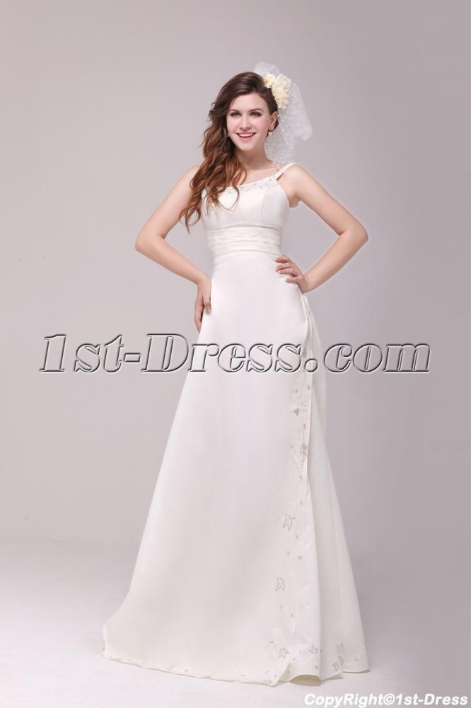 Elegant A-line 2014 Beach Mature Bride Wedding Dress:1st-dress.com