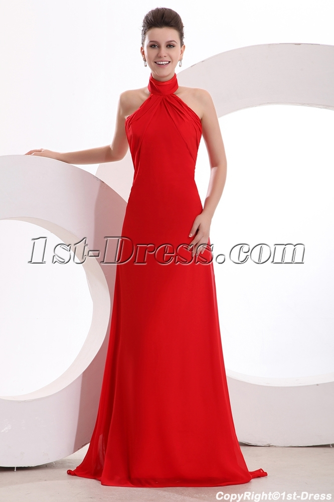 Elegant High-neckline Red Chiffon A-line Evening Dress