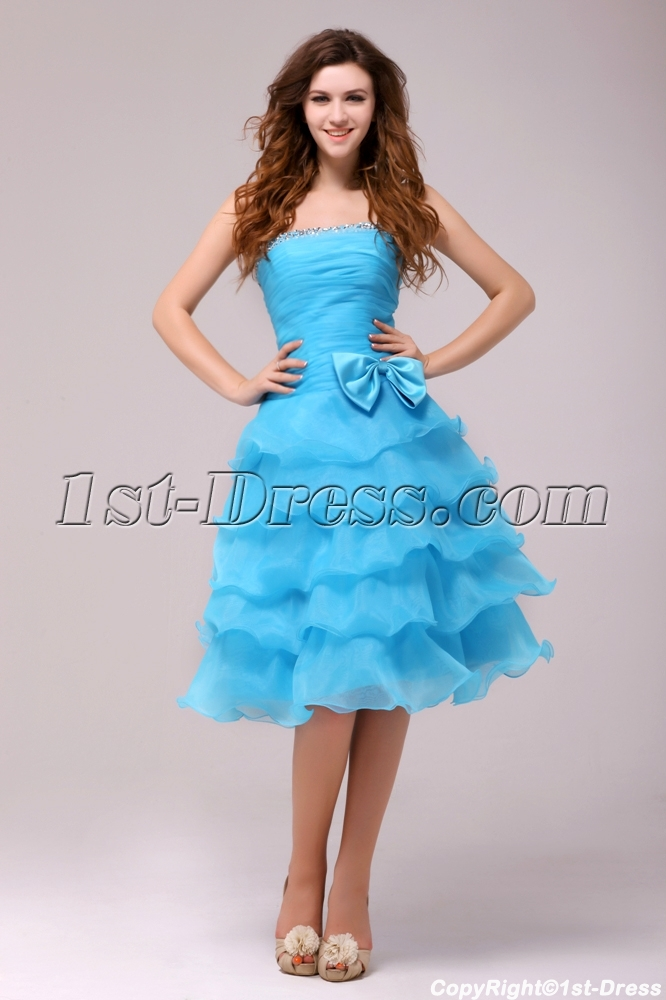 Fantastic Blue Knee Length Junior Prom Dress:1st-dress.com