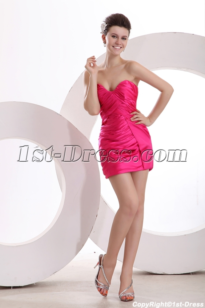 Fuchsia Dramatic Sheath Mini Prom Gown for Junior