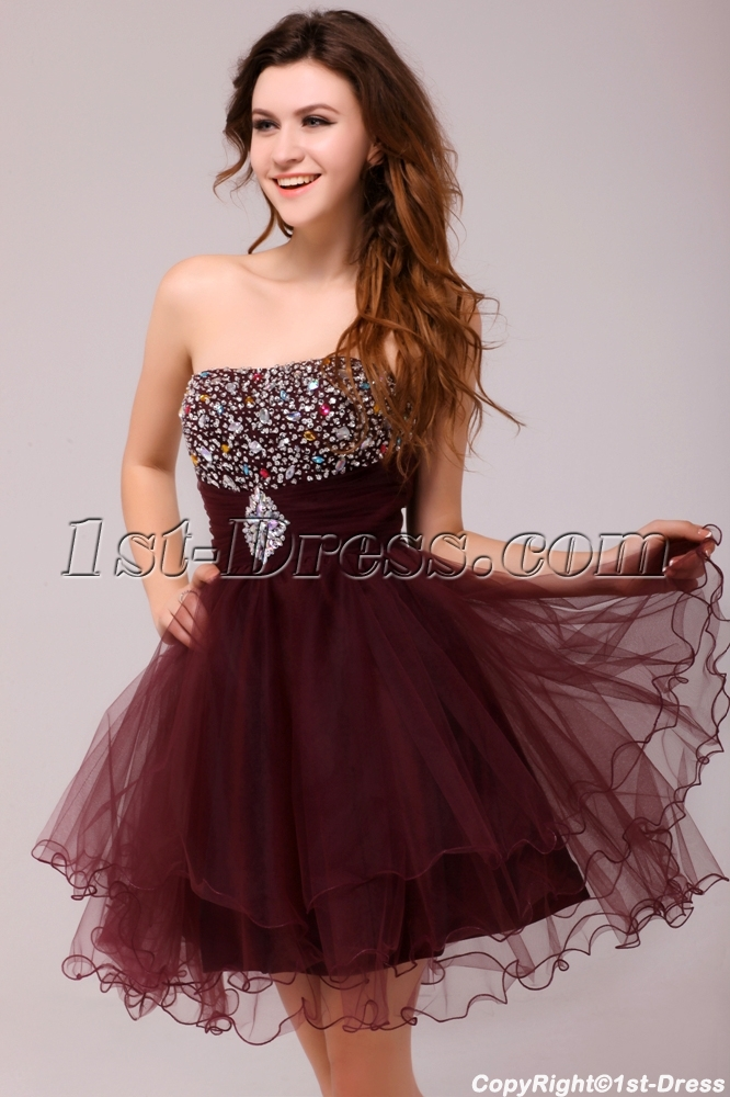 Graceful Beaded Burgundy Sweetheart Cocktail Dress:1st-dress.com