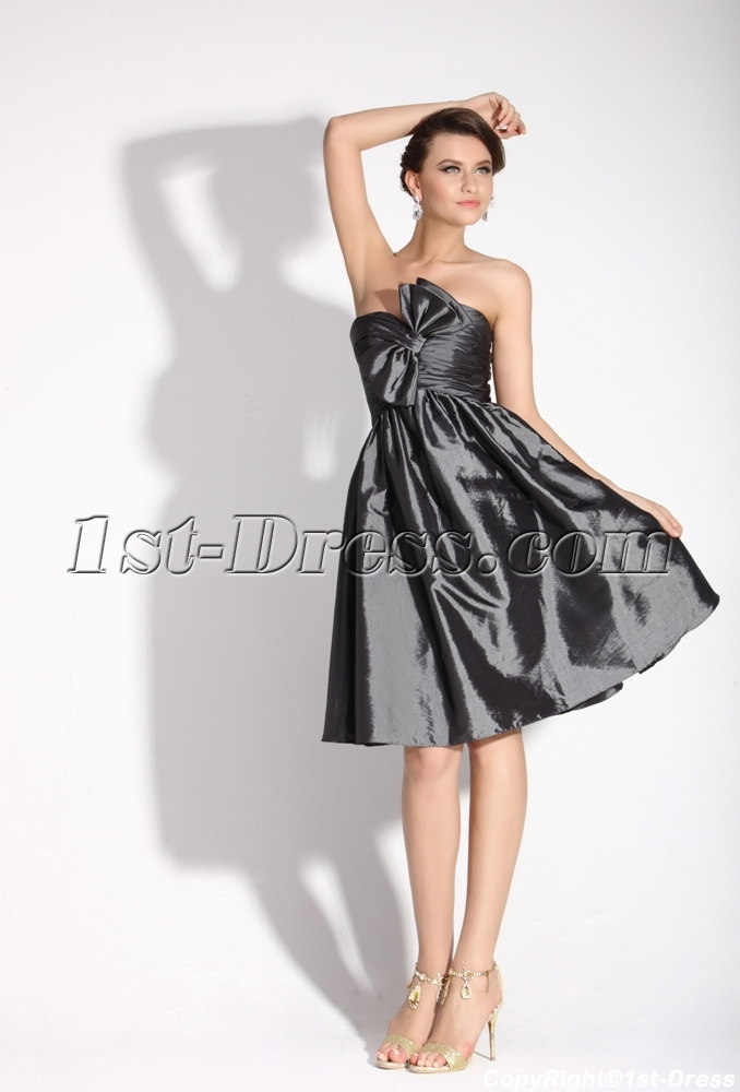 Gray Strapless Short Junior Prom Dress:1st-dress.com