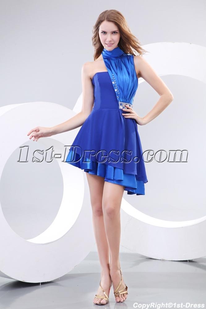 High Neckline Royal Best Short Prom Dress:1st-dress.com