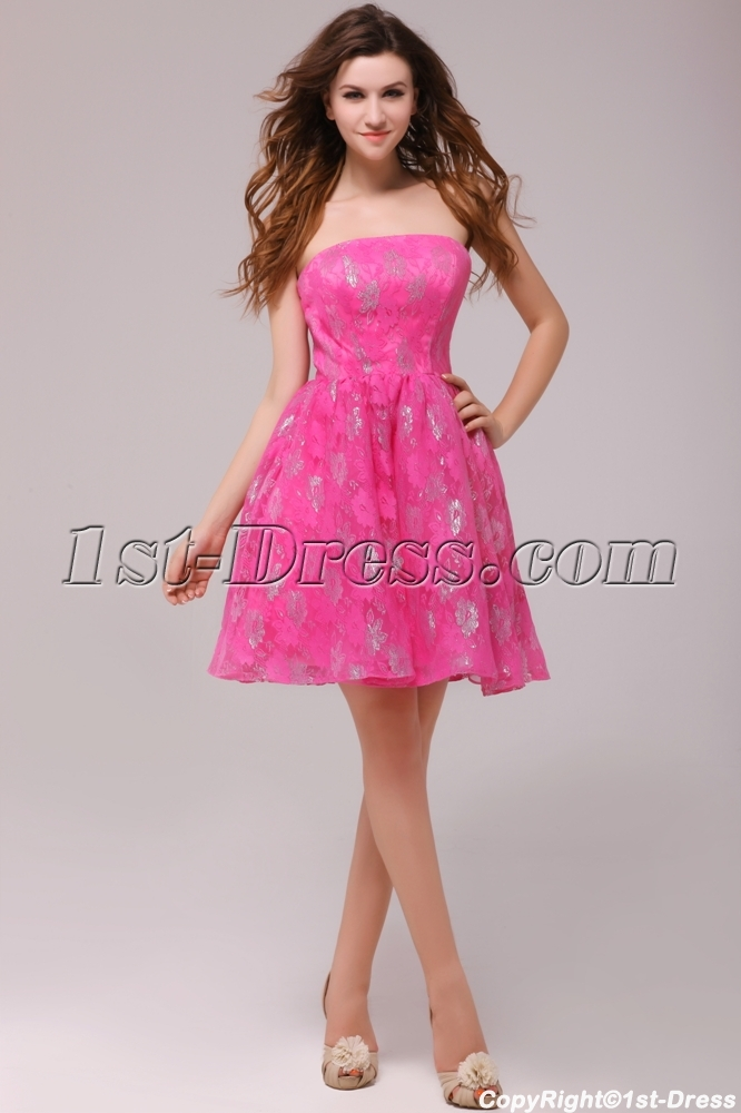 Hot Pink Short Lace Homecoming Party Dresses Cheap:1st-dress.com