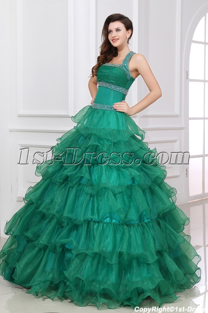 f1e9b700a05 Hunter Green Layers Puffy Quinceanera Dresses 2013 (Free Shipping)