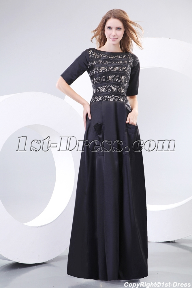 a62bd0ae46743 Modest Black Short Sleeves Prom Dress with Pocket (Free Shipping)
