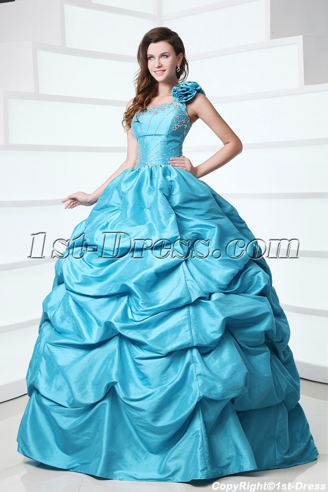 Modest One Shoulder Blue Best Quinceanera Dress 1st Dress Com