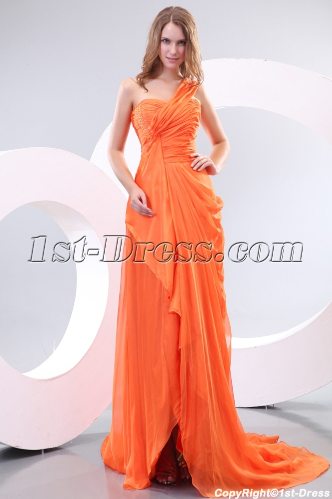 Orange Ladies Long Formal Evening Dress With One Shoulder1st Dress