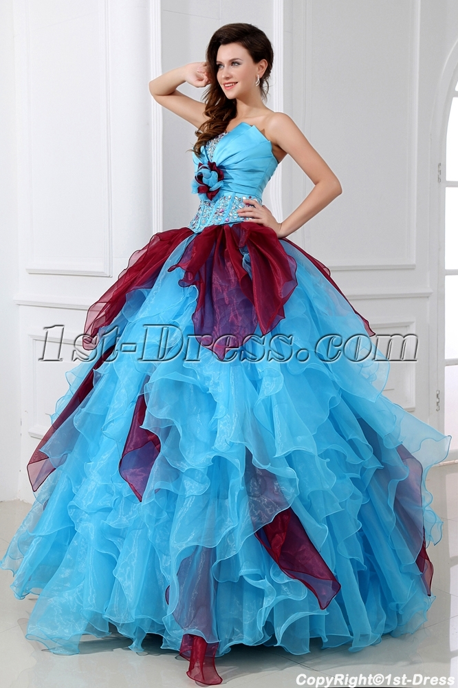 Popular Multi Colored Puffy Quinceanera Dresses1st Dress