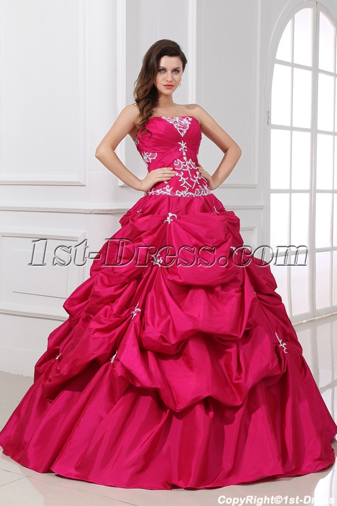 Pretty Discount Fuchsia Pick up Sweet 15 Ball Gown