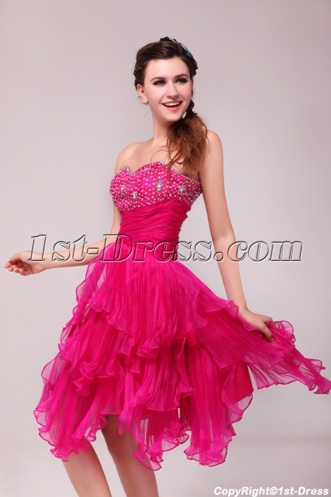 Pretty Hot Pink Knee Length Junior Club Party Dress:1st-dress.com