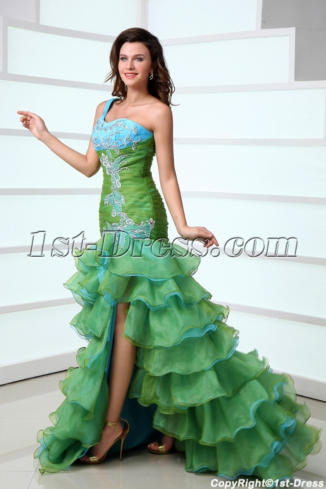94bbc8d37da Pretty One Shoulder Colorful Quinceanera Dress with Slit Front 1st ...