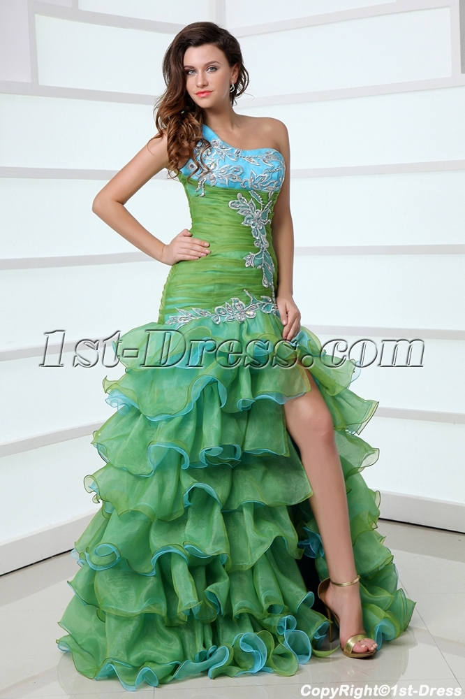 6bf07133f8d Pretty One Shoulder Colorful Quinceanera Dress with Slit Front (Free  Shipping)