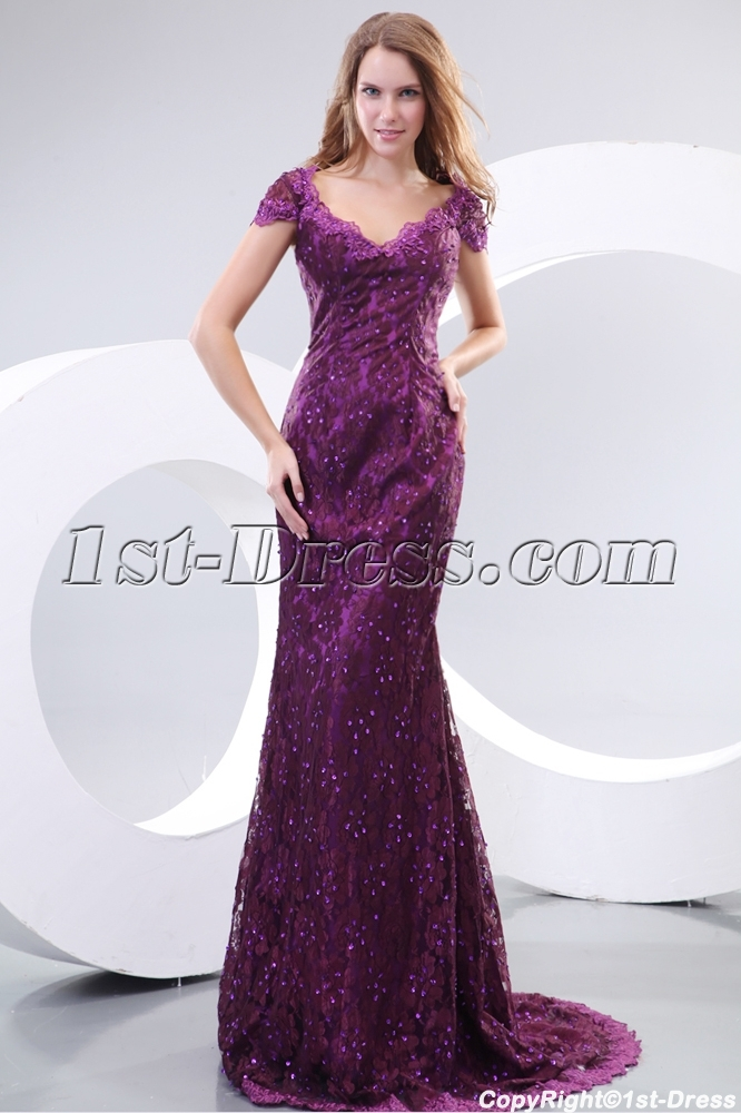 Pretty Purple Cap Sleeves Lace Evening Dresses For Mature Women1st
