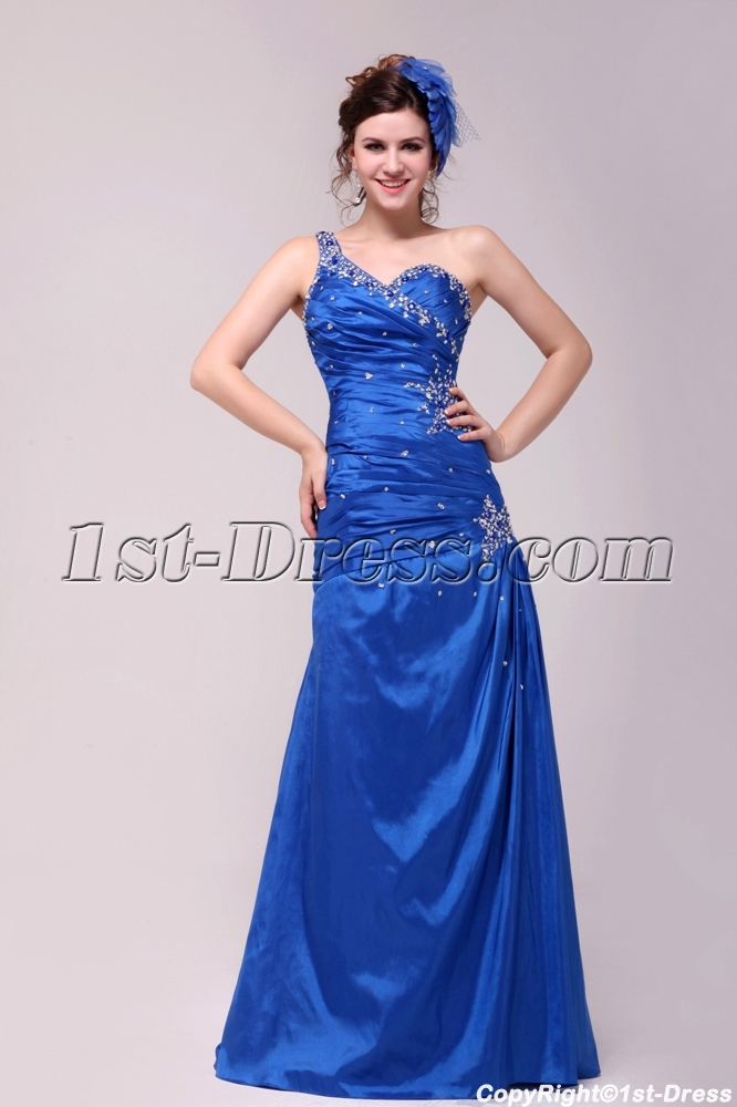 Pretty Royal Blue A-line Floor-length One Shoulder 2014 Prom Dress ...