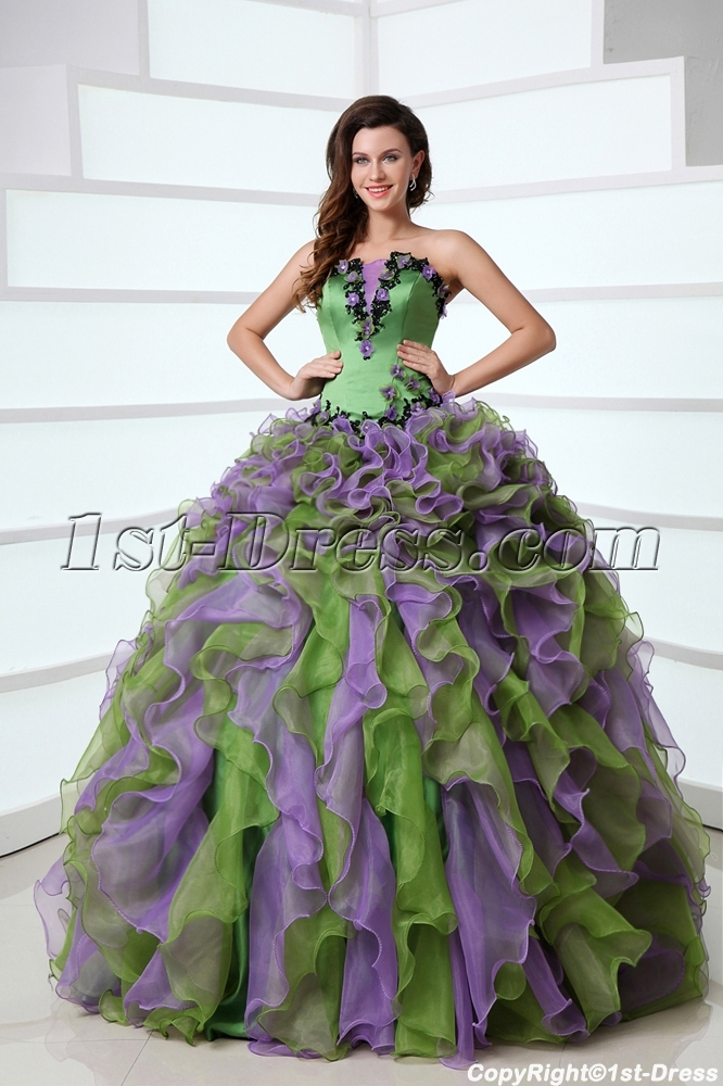 Puffy Ruffled Affordable Green And Purple Colorful Quinceanera Dress Organza Ball Gown1st Dress