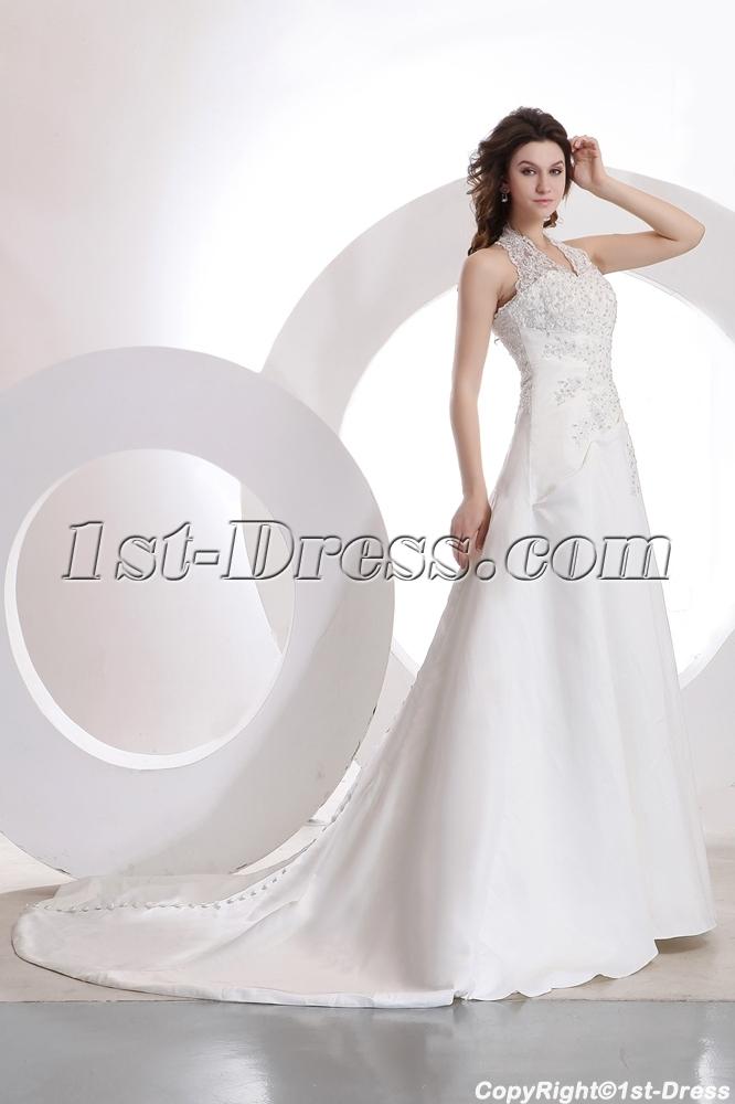 Romantic Halter Lace A Line Wedding Gown 995011st Dress