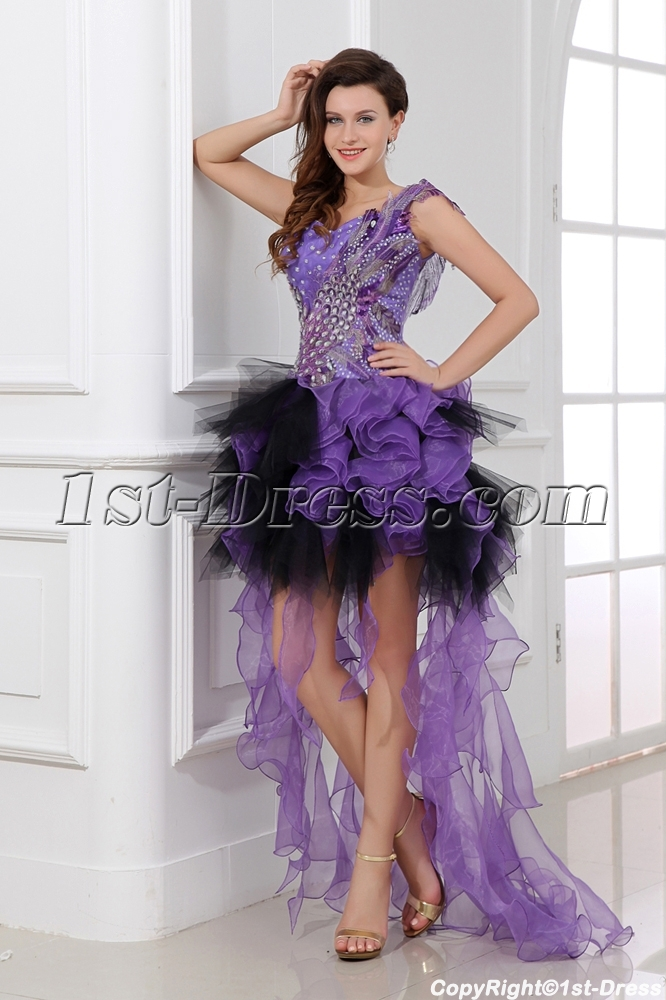 Sexy Flowing Purple High Low Short Cocktail Dress
