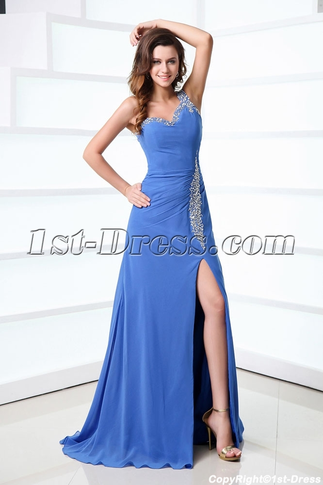 Sexy Periwinkle Formal Dresses With One Shoulder For Spring1st Dress