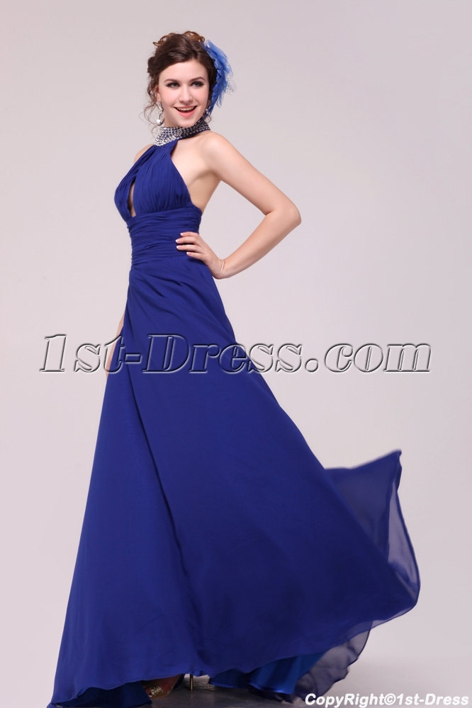 Sexy Royal Blue Halter Evening Dress